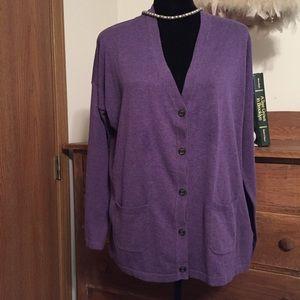 Chaps purple cardigan, Large